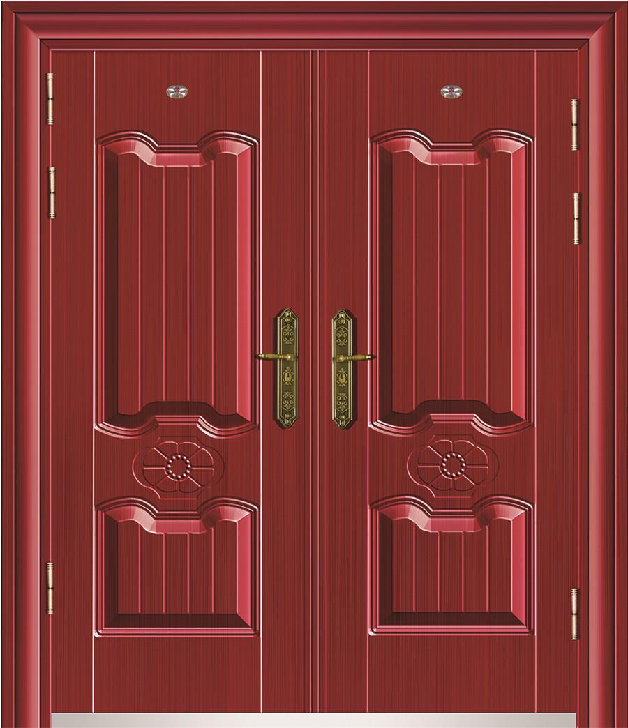 品名:100扣边非标钢质门(古典红木拉丝)、代号:兴58